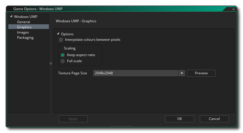 uwp graphics options gms 2