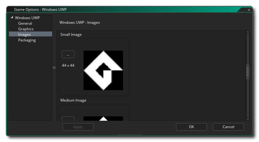 uwp images tiles options gms 2
