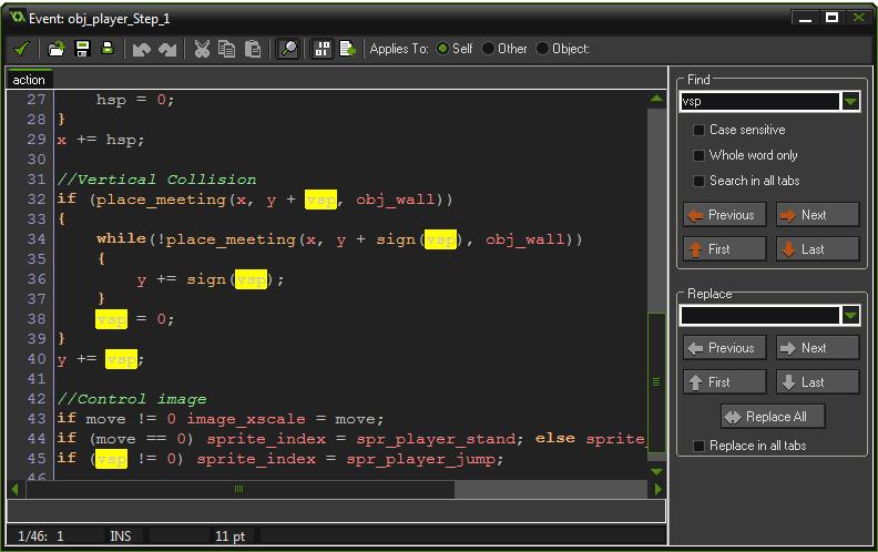Buscar dentro de un script game maker studio