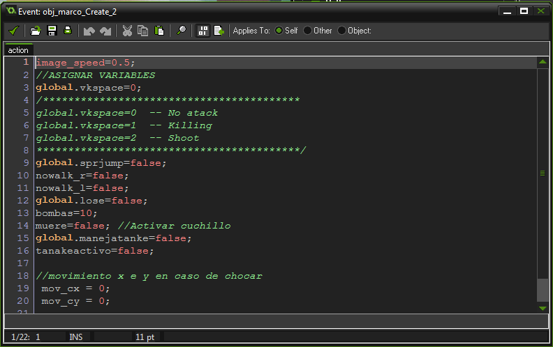 Ejemplo de código GML en el evento Create.
