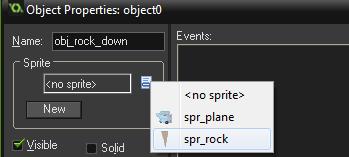 Elegir sprite objeto roca tappy plane game maker