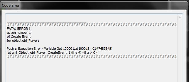 debug error game maker