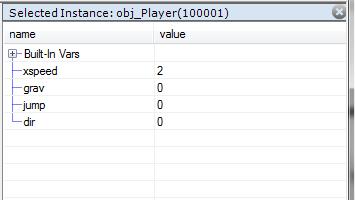 selected instance window debug game maker