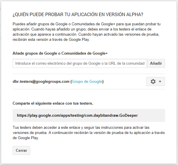 Probar version alpha google play