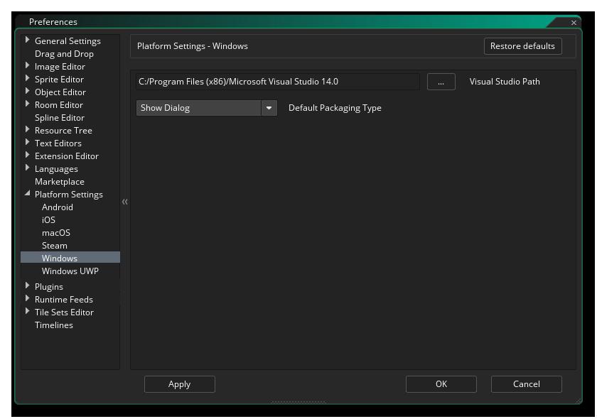 windows preferences gms 2