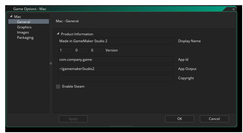 mac general options gms 2