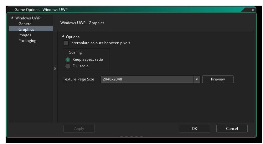 uwp graphics options gms 2